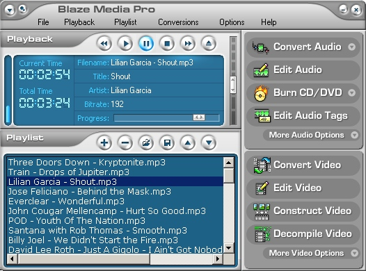 Powerhouse all-in-one audio and video converter for CD, MP3, WAV, WMA, OGG, MPEG-1, MPEG-2, AVI, WMV, MOV, Flash (SWF and FLV), iPod, PSP, 3GP, etc.; editor; recorder; CD/DVD ripper; audio, video, data CD/DVD burner for DVD, VCD, and SVCD; and more.